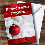 Red Bauble In The Snow Customised Christmas Card