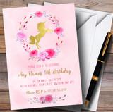 Pink Watercolour Unicorn Girls Children's Birthday Party Invitations