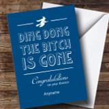 Funny Blue Ding Dong Divorce / Break Up Customised Card