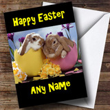 Bunny Rabbits In Egg Shells Customised Easter Card