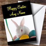 White Easter Bunny Rabbit Customised Easter Card