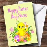 Adorable Easter Chick And Egg Customised Easter Card