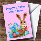 Pink Easter Bunny Customised Easter Card