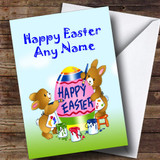 Painting Rabbits Customised Easter Card