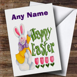 Easter Egg And White Easter Bunny Customised Easter Card
