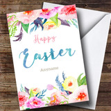 Customised Floral Border Watercolour Easter Card