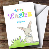 Customised Colourful Bunny Easter Card