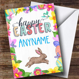 Customised Spring Rabbit Easter Card