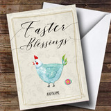 Customised Blue Chicken Easter Card