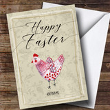 Customised Pink Chicken Easter Card