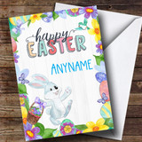Customised Spring Bunny Easter Card