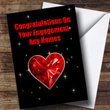 Red Heart And Stars Romantic Customised Engagement Card