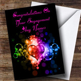 Colourful Love Heart Romantic Customised Engagement Card