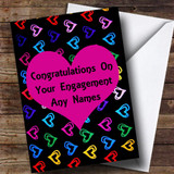 Multi-coloured Love Hearts Romantic Customised Engagement Card