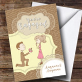 Burlap Style Love Couple Engagement Customised Card