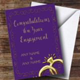 Purple Floral Gold Rings Engagement Customised Card