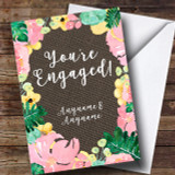 Floral & Dark Hessian Engagement Customised Card