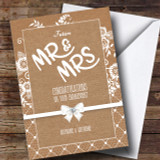 Burlap And Lace Engagement Customised Card