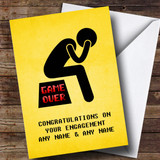 Customised Funny Game Over Depressed Man Engagement Card