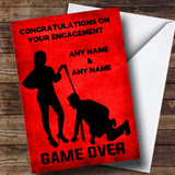 Customised Funny Man On Leash Game Over Engagement Card