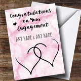 Customised Pink Marble Two Hearts Engagement Card