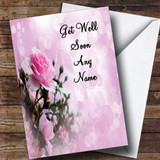 Pale Pretty Pink Rose Customised Get Well Soon Card