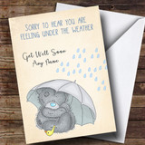 Customised Under The Weather Bear Get Well Soon Card