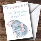 Customised Cuddling Elephants Get Well Soon Card