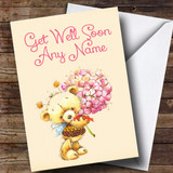 Customised Bear With Flowers Get Well Soon Card