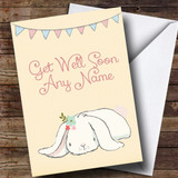 Customised White Rabbit Get Well Soon Card
