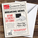 Newspaper Celebration Times New School Customised Good Luck Card