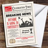 Newspaper Celebration Times University Customised Good Luck Card