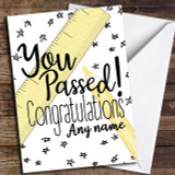 Passed Exams Ruler Pencil Stars Customised Good Luck Card