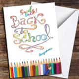 Rainbow Back To School Customised Good Luck Card