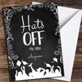 Classic Chalk Hats Off Customised Graduation Card