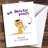 Funny Cat Smartie Pants Customised Graduation Card