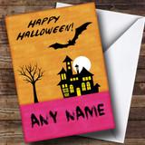 Orange Horror House Customised Halloween Card