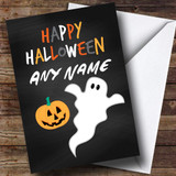 Black Ghost & Pumpkin Customised Halloween Card
