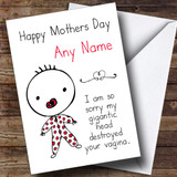 Funny Rude Gigantic Head Customised Mothers Day Card