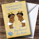 Adoption Vintage Congratulations Adopting Twin Boys Black Customised Card