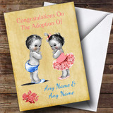 Adoption Adopting Twin Boy & Girl Son & Daughter Customised Card