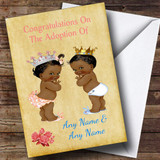 Congratulations Adopting Twin Boy & Girl Son & Daughter Black Customised Card