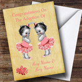 Cute Adoption Congratulations Adopting A Twin Girls Daughter Customised Card