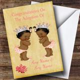 Adoption Congratulations Adopting A Twin Girls Daughter Black Customised Card