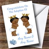 Adoption Congratulations Adopting Twin Boys Black Customised Card