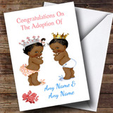 Congratulations Adopting Twin Boy Girl Son Daughter Black Customised Card