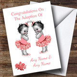 Adoption Congratulations Adopting A Twin Girls Daughter Customised Card