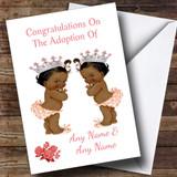 Adoption Adopting A Twin Girls Daughter Black Customised Card