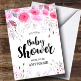 Customised Pink Floral Mum To Be Baby Shower Card