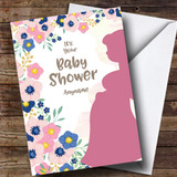Customised Pregnant Mum Floral Baby Shower Card